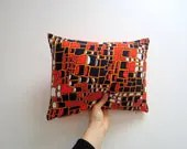 Pillow cover vintage fabric Orange black white red pattern Retro Funky bachelor pad  pillow case eco friendly - bubyNoa