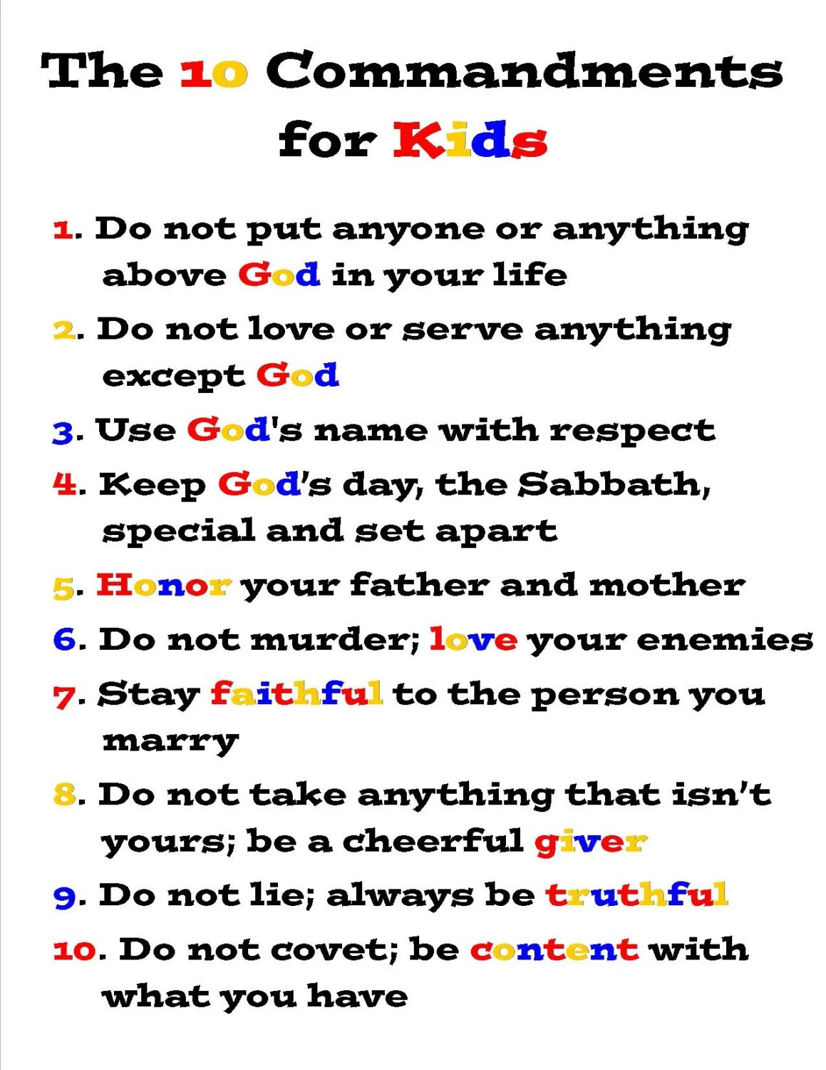 The Ten Commandments For Kids Exodus 20 Teaching Printable