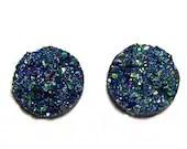 20mm Round Faux Druzy metallic blue color Nugget Cabochons 2pcs - pedazos