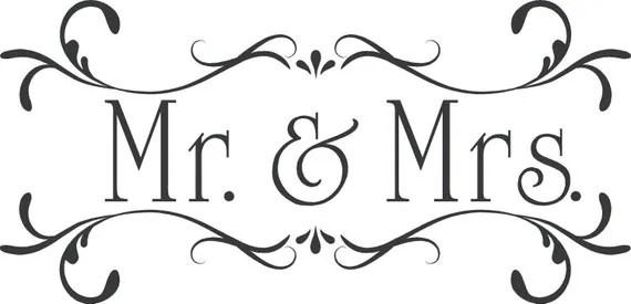 Wedding Mr.& Mrs.Custom Wall Decor Words Vinyl Lettering Decal