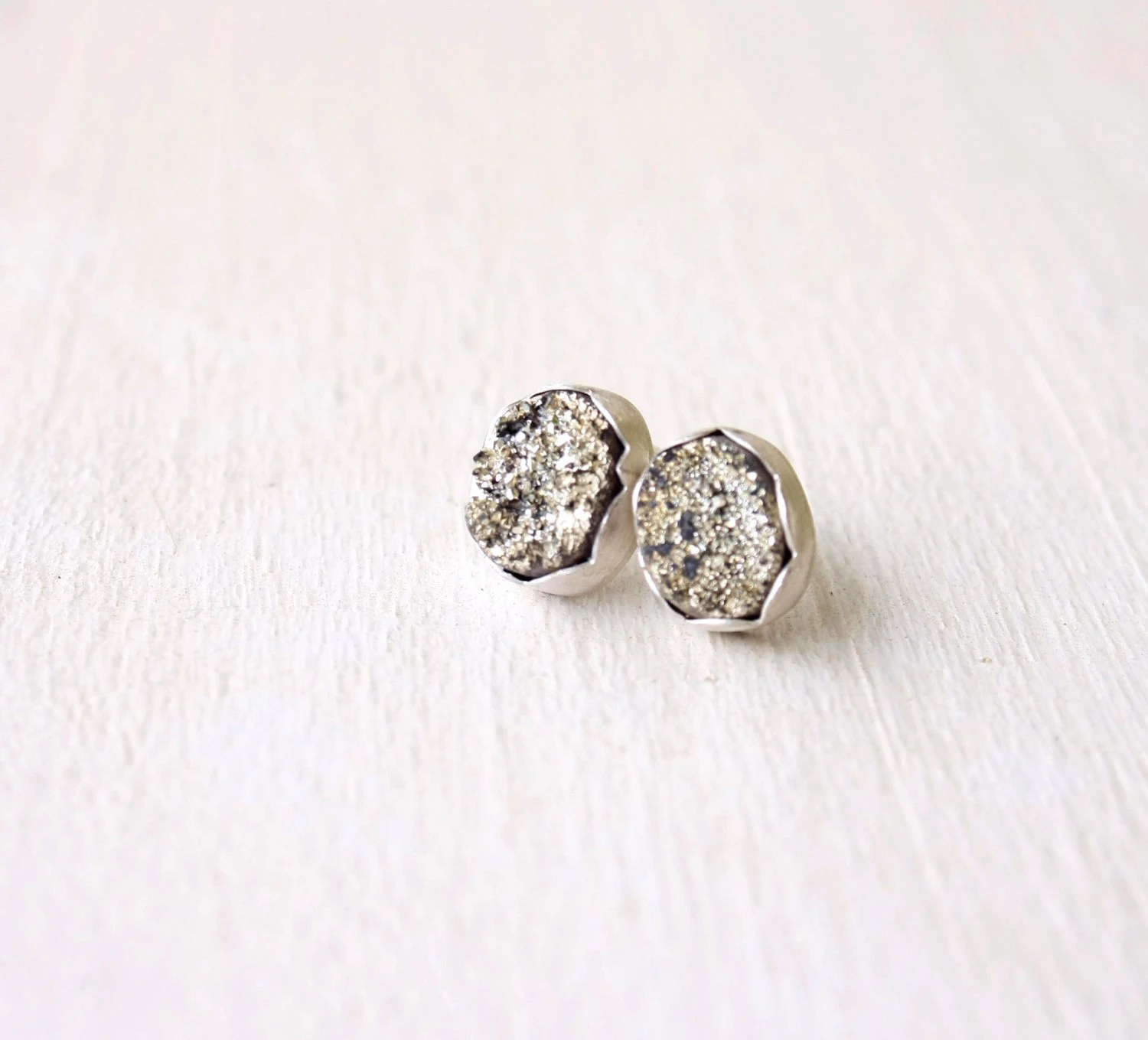Silver Druzy post earrings / oval druzy stud earrings / silver metallic posts / small oval stud earrings / Handmade FREE SHIPPING - SilverLinesJewelry
