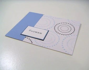 Blue and Black Dotted Circle One of a Kind Masculine Handmade Greeting Card - Father - Just for Him Collection