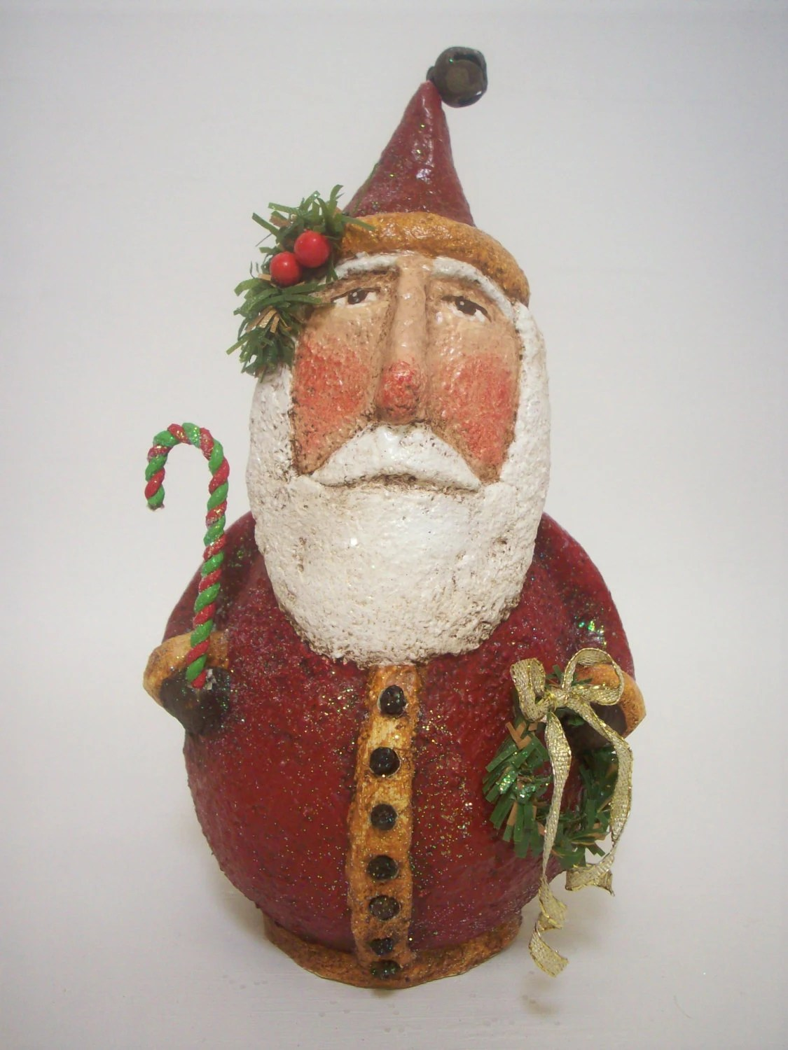 Primitive Paper Mache Folk Art Santa