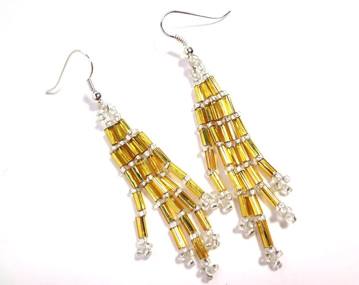 Beaded Golden Dangle Earrings on Silver Plated Hooks or Clip Ons - MegansBeadedDesigns