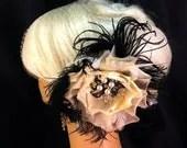 Wedding Flower Fascinator, Wedding Veil, Fascinators and Mini Hats, Wedding Brooch, Vintage Inspired, Wedding Hairpiece