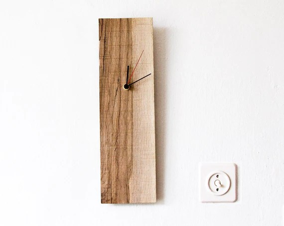 Wood Wall Clock Rectangular Wooden Clock Modern Wall Clock