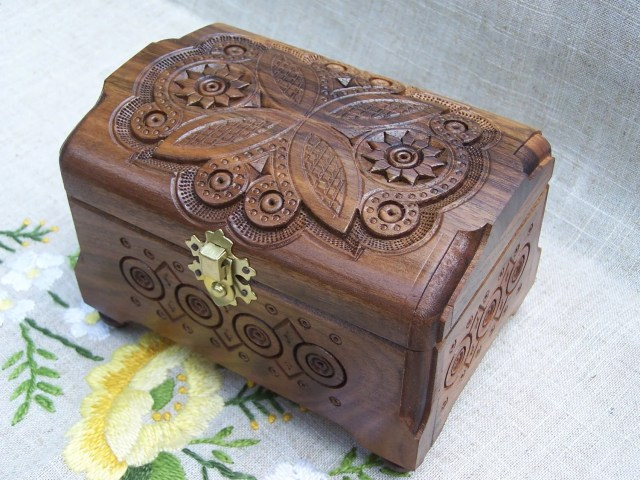 Jewelry box Ring box Wooden box Carved wood box Wedding gifts Wood ...
