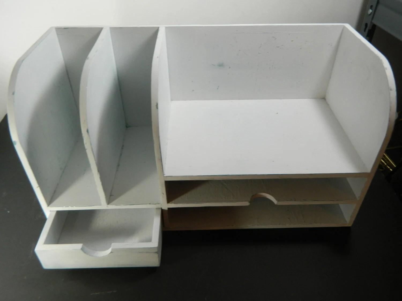 Vintage Wood Desk Organizer Distressed White By
