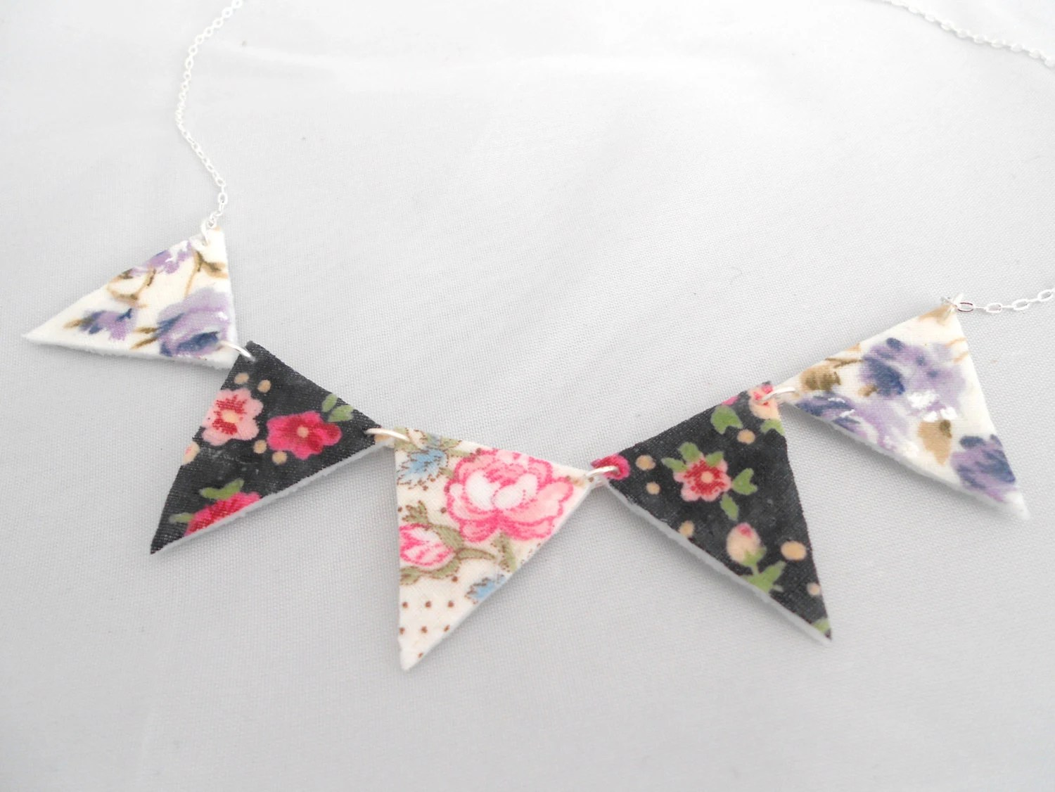 Felt Bunting Necklace Triangle Necklace Silver
