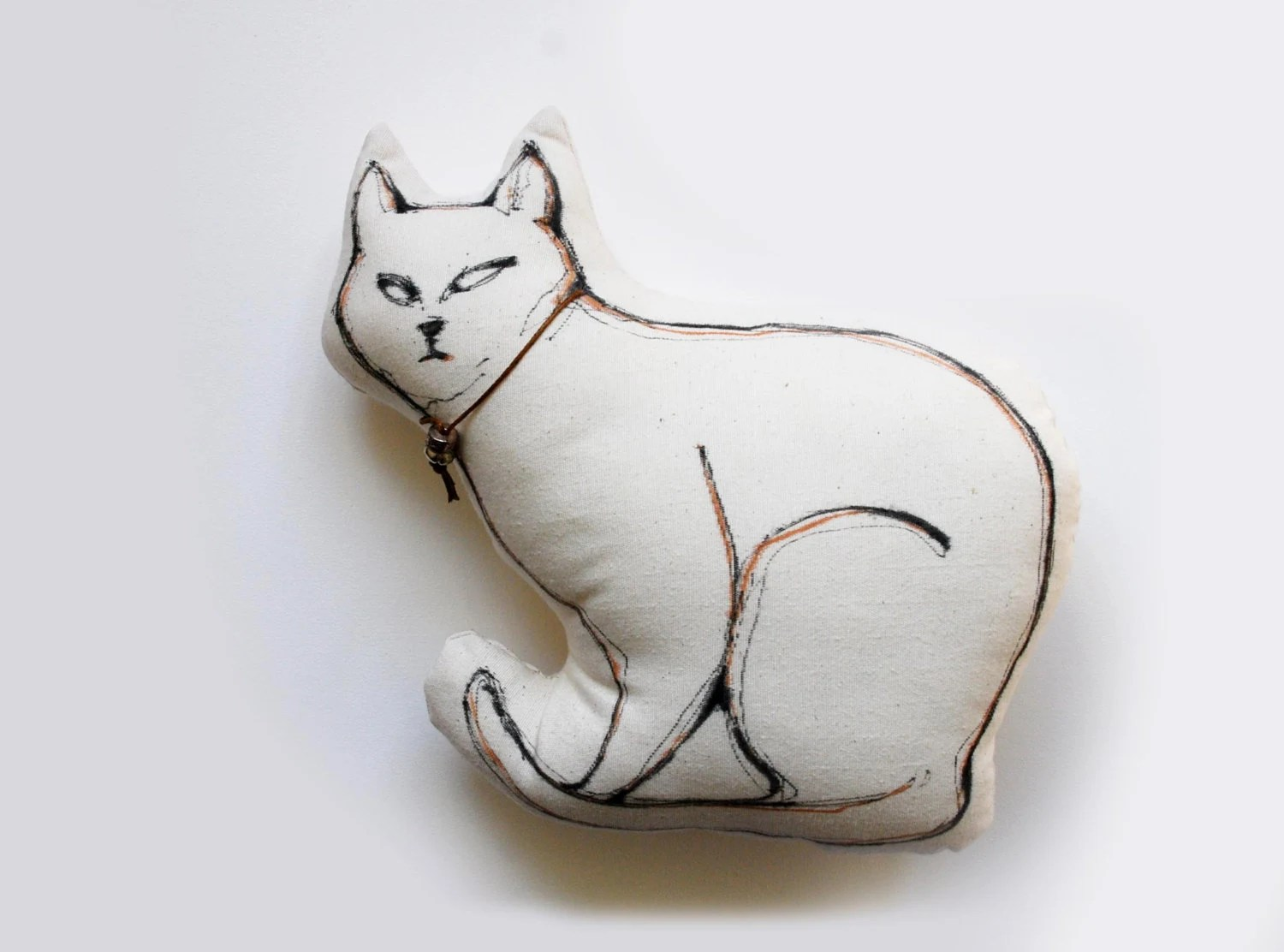 Cat Pillow - Limited edition - Cat drawing on fabric - Two available - White/ black ink pen special for fabric aplication - SimpleArtStudio