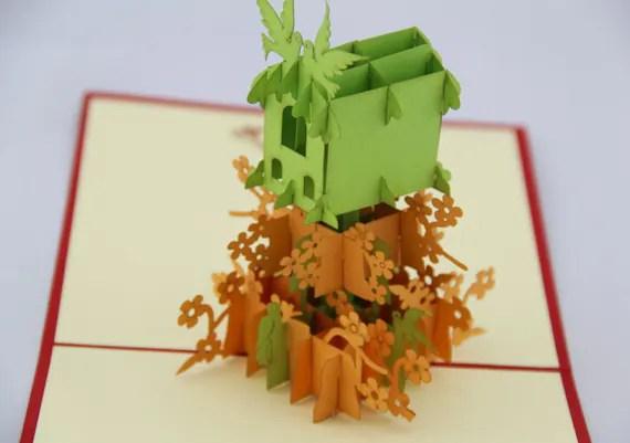 Bird Nest in POP UP Handmade Pop up card by Bielyse on Etsy
