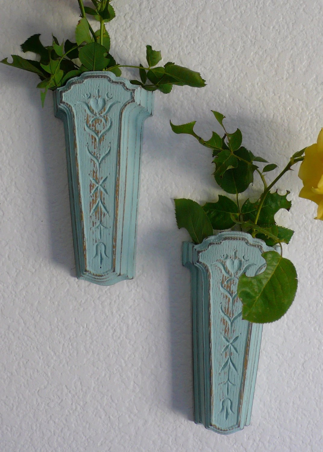Vintage Wall Pockets Shabby Chic Wall Sconces Floral on Flower Wall Sconces id=52025
