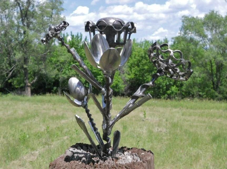 Flower Metal Sculpture Yard Art Garden Art Found Objects Metal