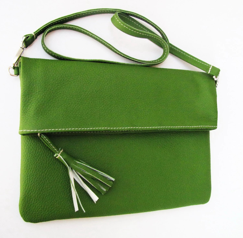 Emerald Green Leather Foldover Bag / Shoulder bag / Foldover Clutch / iPad Bag / Case in Italian Napa Leather. HANDMADE Unique bag - farragobags2