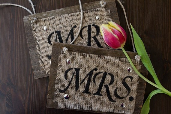 Items Similar To Mr And Mrs Wedding Chair Signs For