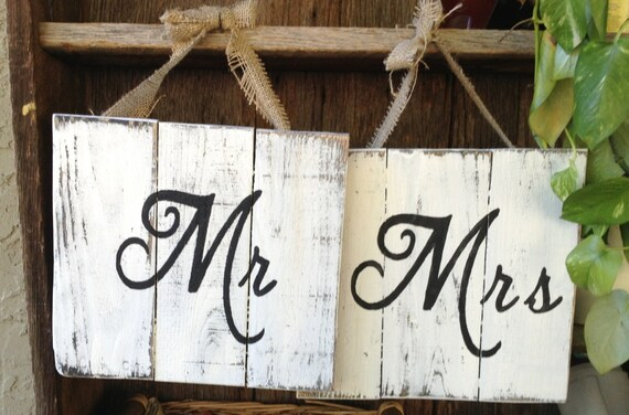 Items Similar To Mr And Mrs, Wooden Signs, Wedding Signs