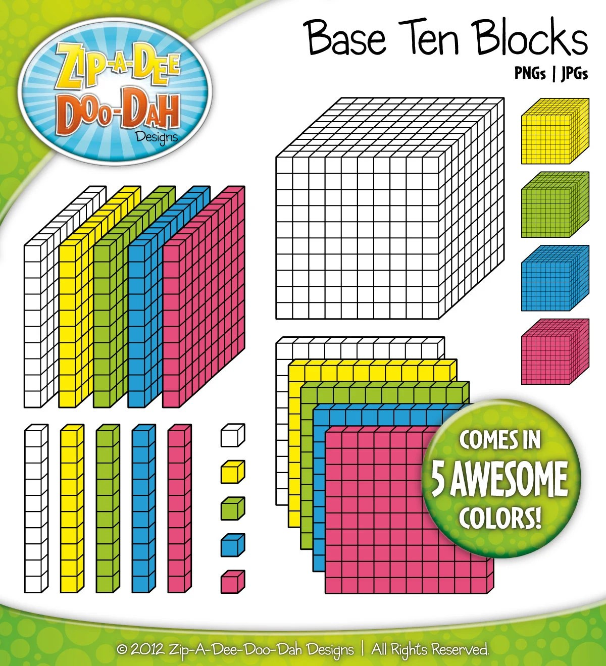Base Ten Blocks Cube Set 1 Over 25 Rainbow By