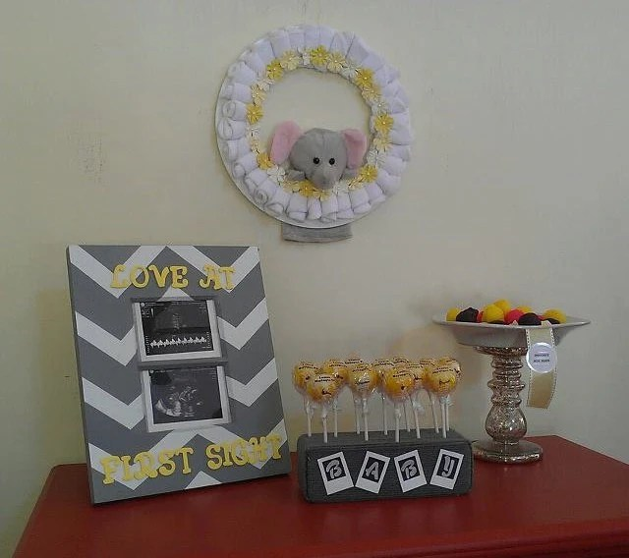 Decorations Shower Baby Gray Yellow