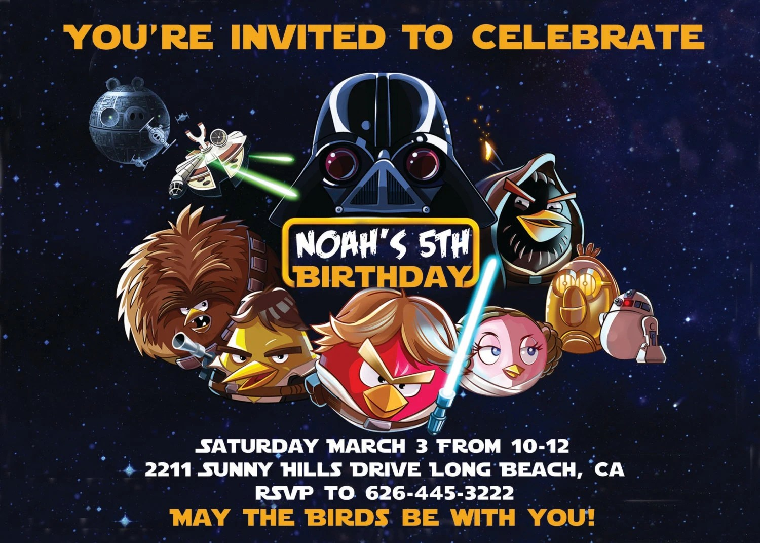 Star Birds Wars Invitations Angry