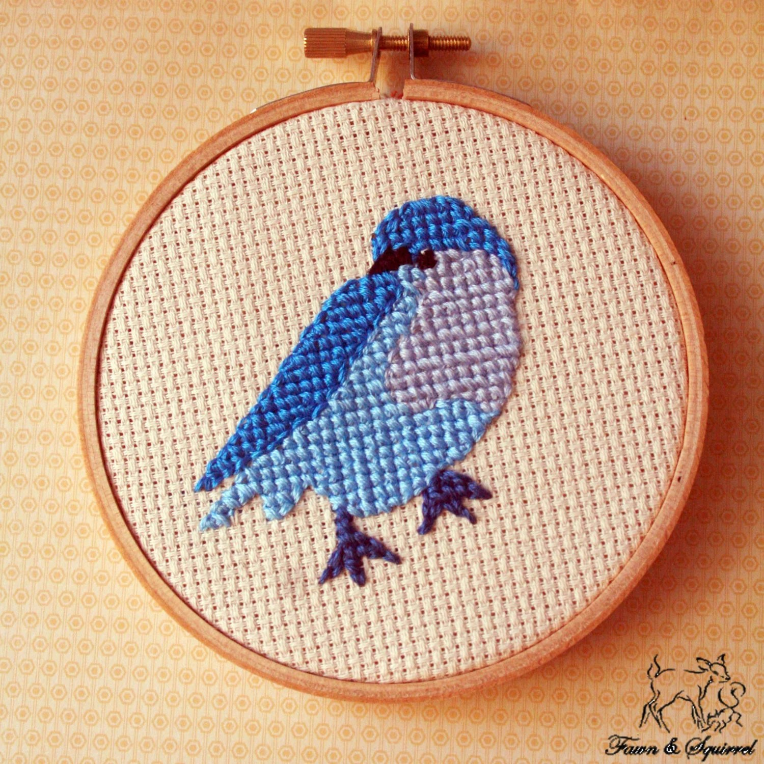Blue - Ombre Birds Mini Cross Stitch Hoops