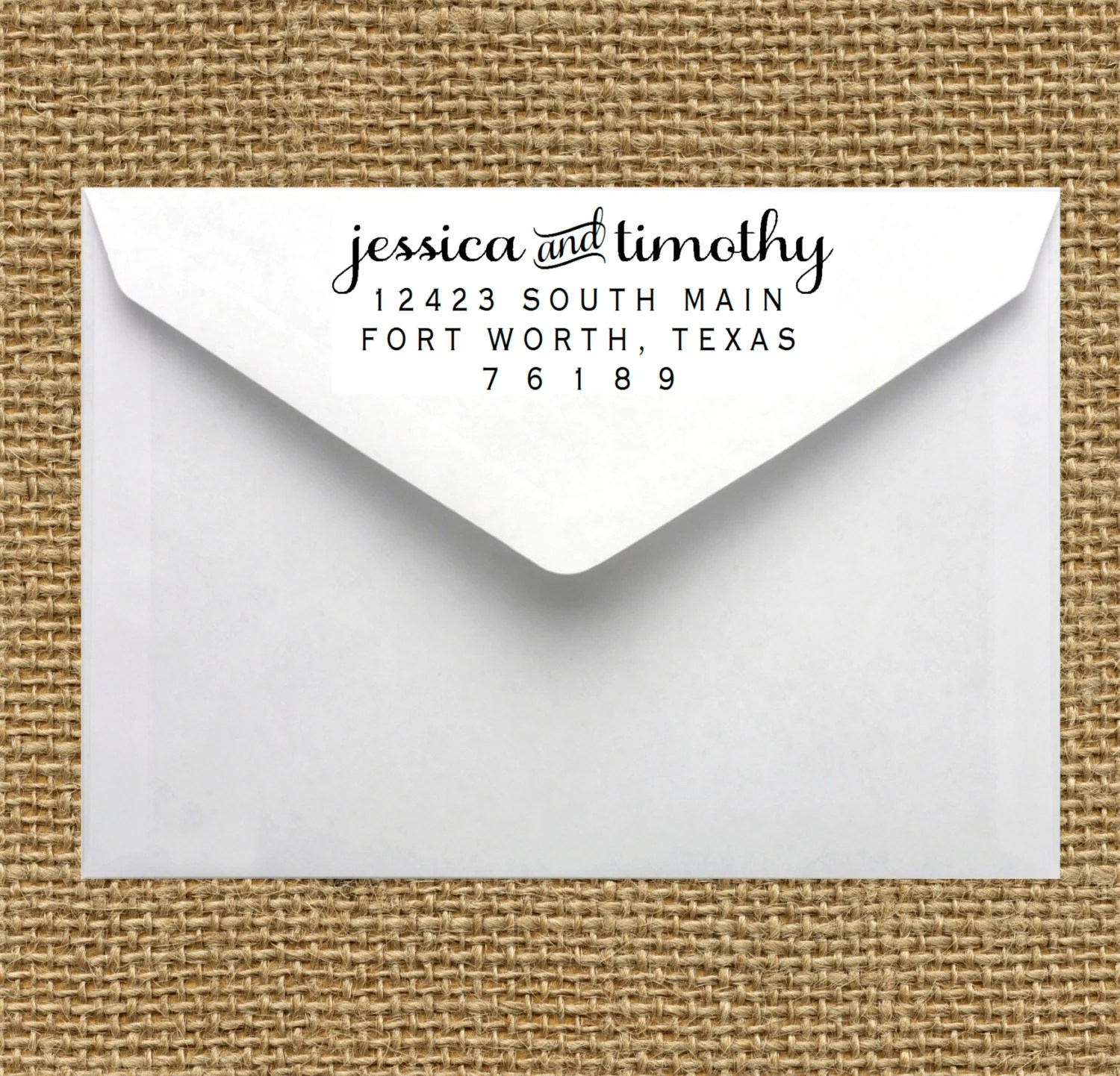CUSTOM Self-Inking Personalized Return Address Stamp Wedding Save the Date Anniversary - hellopaperie