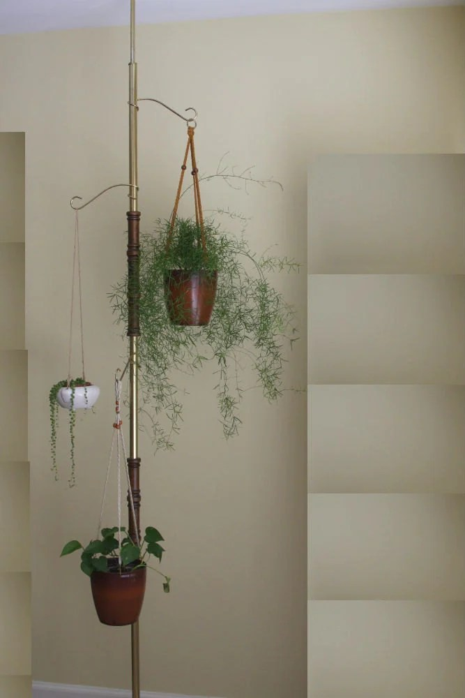 Vintage Tension Pole Hanging Plant Stand on Plant Stand Hanging  id=39874