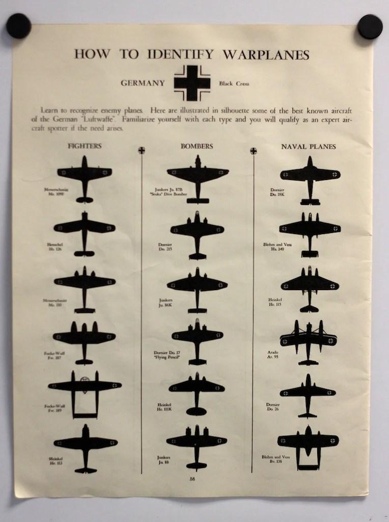 1942 WWII Warplane Identification Chart German And British