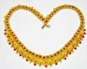 On Sale / Glass Beaded Woven Necklace Moroccan Design - AmhalchyJewelry