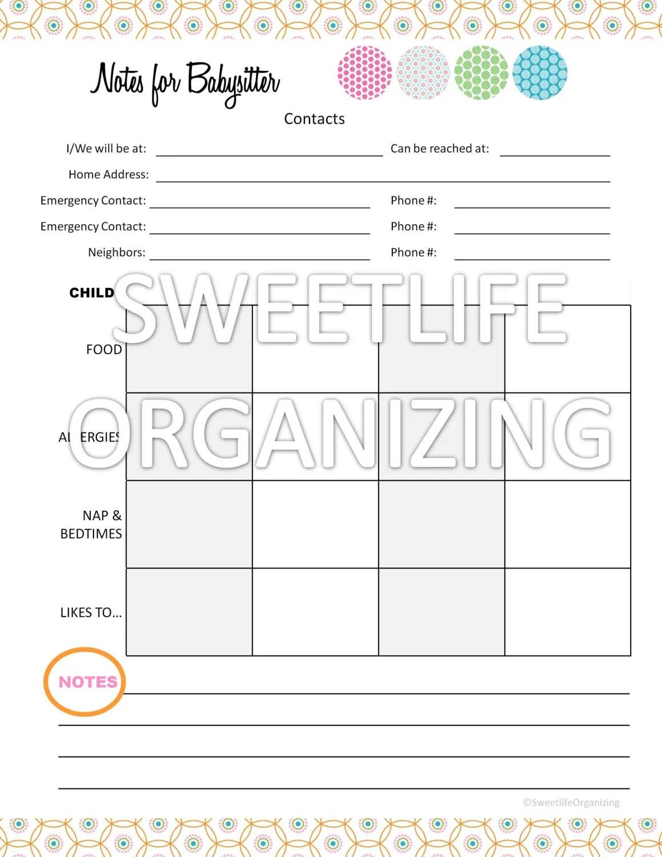 Items Similar To Babysitter Notes Worksheet