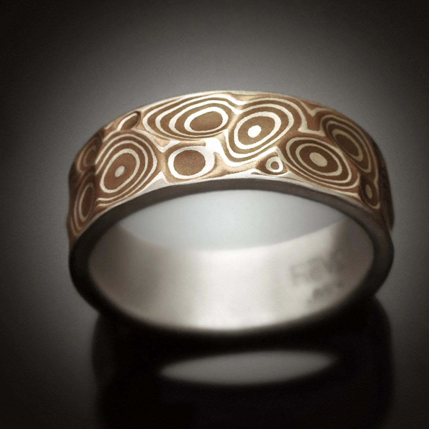 Mokume Gane Mens Ring Copper Canyon Argenitum Silver