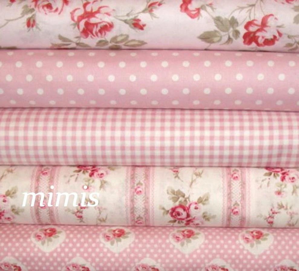 Petal Fabric by Tanya Whelan / Pinks / 5 Half  Yard Bundle / Cotton Quilt Apparel Fabric - mimis