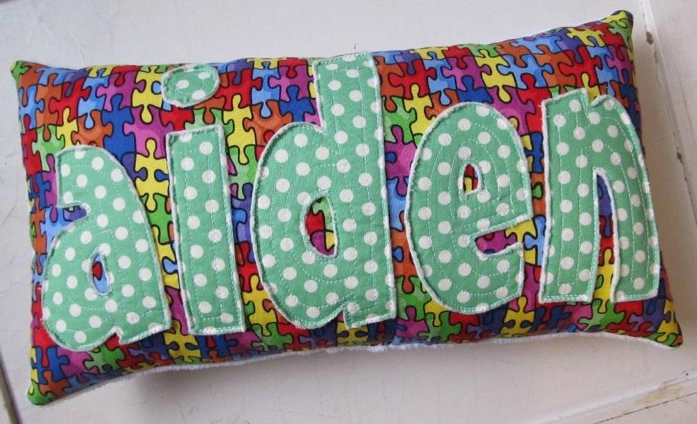 Personalized Puzzle Piece Name Pillow handmade for Autism Awareness - SugarAndSpice