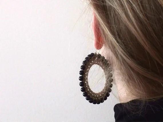 Large Hoop Earrings - big earrings - boho earrings - bohemian jewelry - autumn fall jewelry - 1001ArtBeads