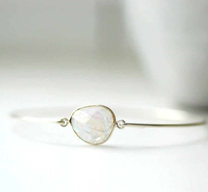 Gemstone Bracelet, Moonstone Bracelet, Bangle Bracelet, Stacking Bracelet, Moonstone Bangle, White Wedding, Wedding Jewelry - WildWomanJewelry