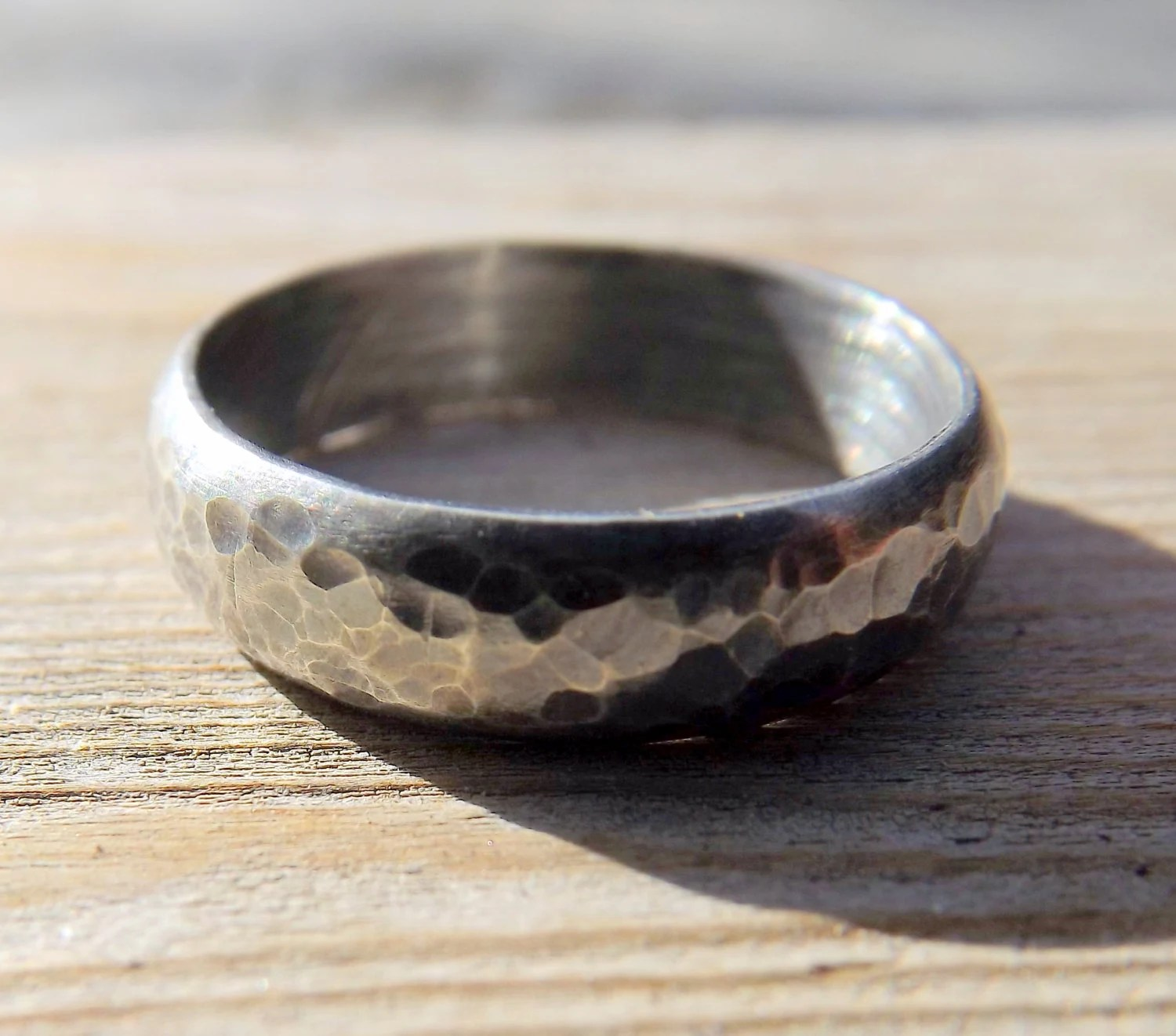 Sterling Silver Wedding Band Rustic Mens Or Womens Hammered