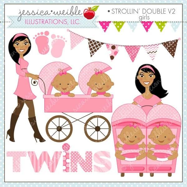 Strollin Double Girls V2 Cute Digital Clipart For