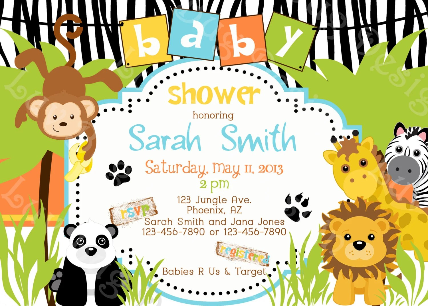 Jungle Baby Shower Invitation Printable Party By Luvbugdesign