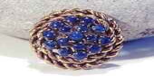 2 Day SALE 1960s Womens Vintage Lapis Brooch / Golden and Lapis Circle - AntiqueAlchemyShop