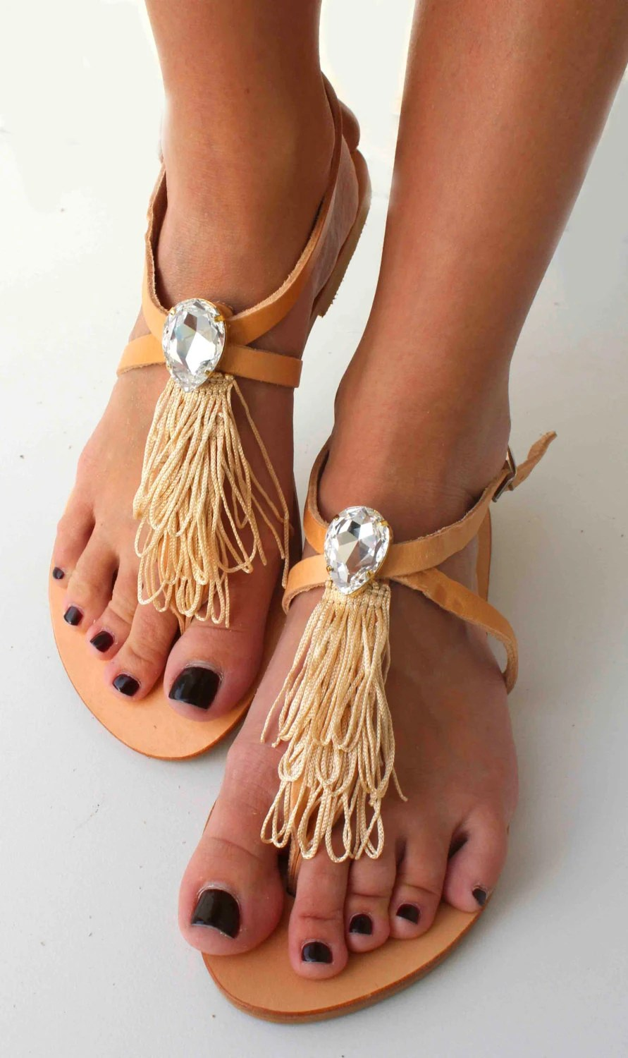Leather Sandals with Swarovski teardrop - Beige and natural sandals - Mykonos Sandals