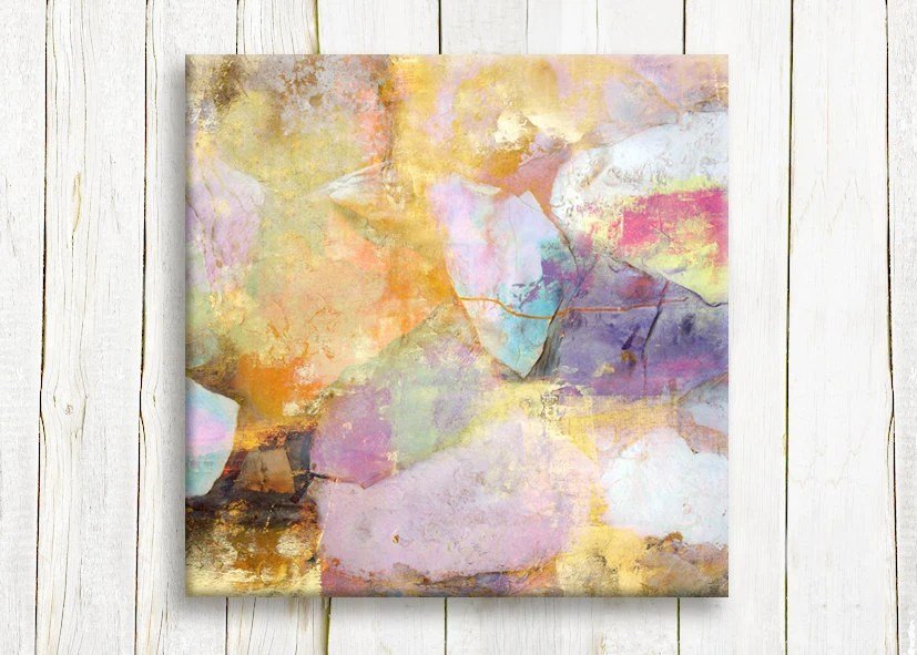 """Pastel color abstract art print, 12""""x12"""", 30x30 cm - hayagold"""