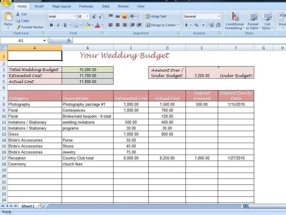 Simple Wedding Budget Worksheet Printable By