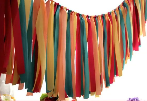 Mixed of Color Party Banner, Decoration, Wedding Garland, Banner, Ribbon, Fabric Garland, Bridal Shower, Baby Shower