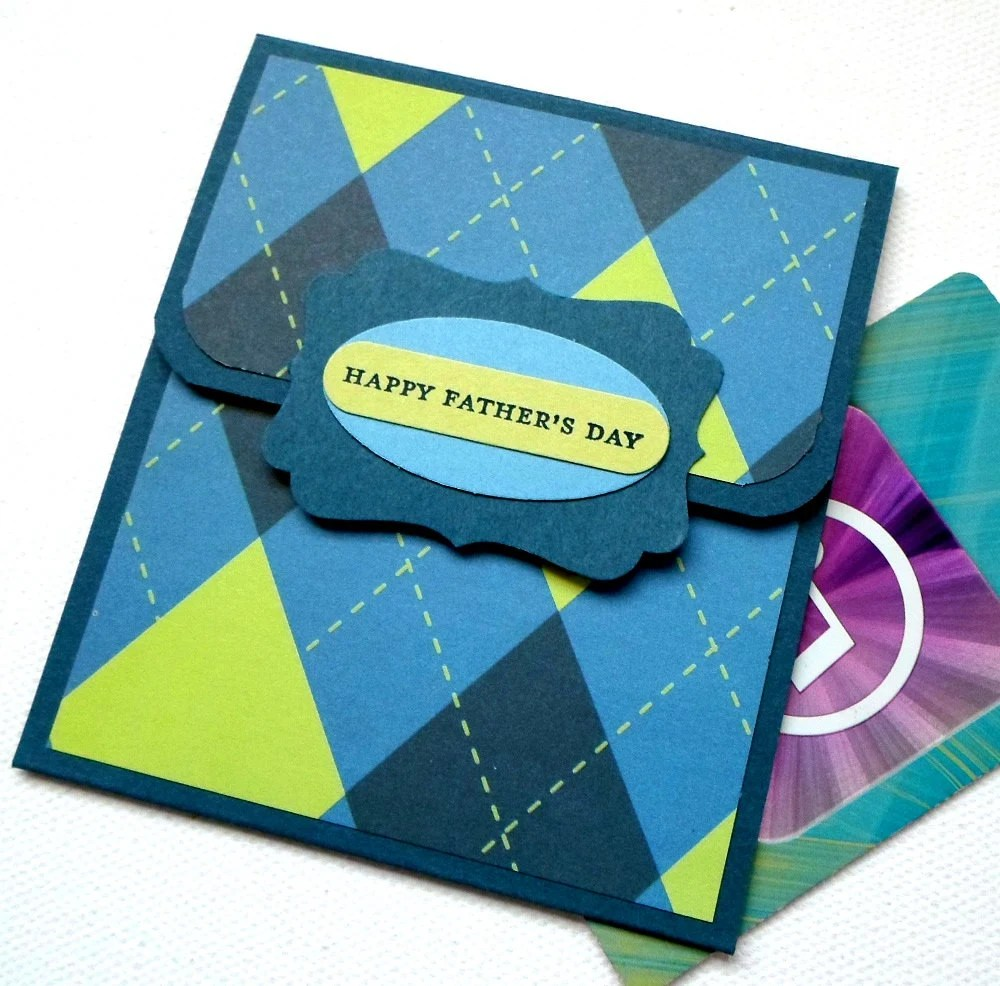 Father's Day Gift Card Holder or Money Card - Blue Green Argyle