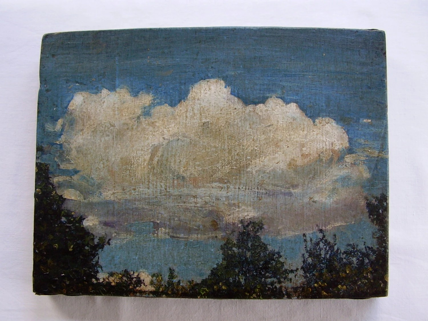 Antique 19th C Follower John Constable RA British 1776-1837 Hampstead Heath Cumulus Cloud Sky Tree Study Landscape Oil Painting Sketch Panel - TheLovelyJumble
