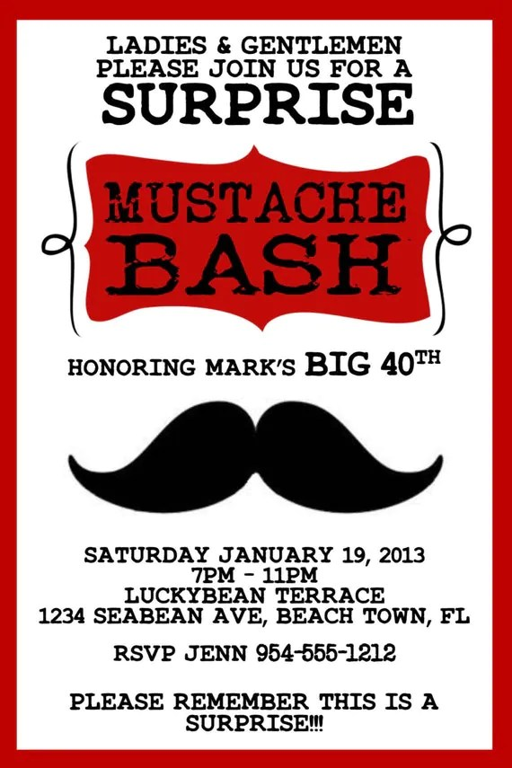 RED Mustache Bash Invitation Template 4X6