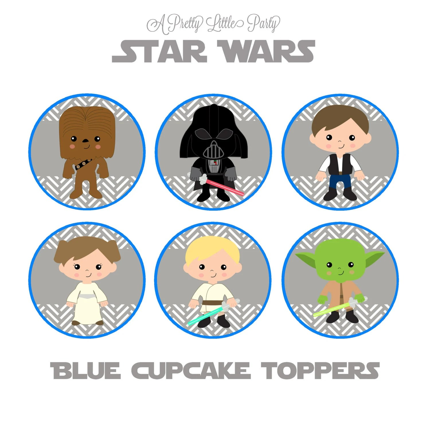 Star Wars Cupcake Toppers In Blue Character Cupcake Toppers