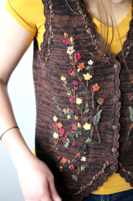 Brown Floral Embroidered Sweater Vest