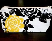 Yellow Rose Small Wristlet Black and White Polka Dot Zipper Closure Handle Makeup Cosmetic Case - andreacreates