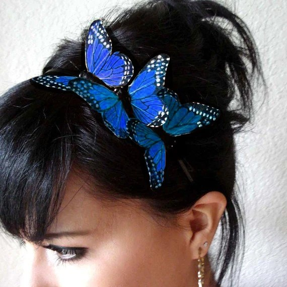 Blue Butterfly Headband Feather Butterfly Headpiece Bridal