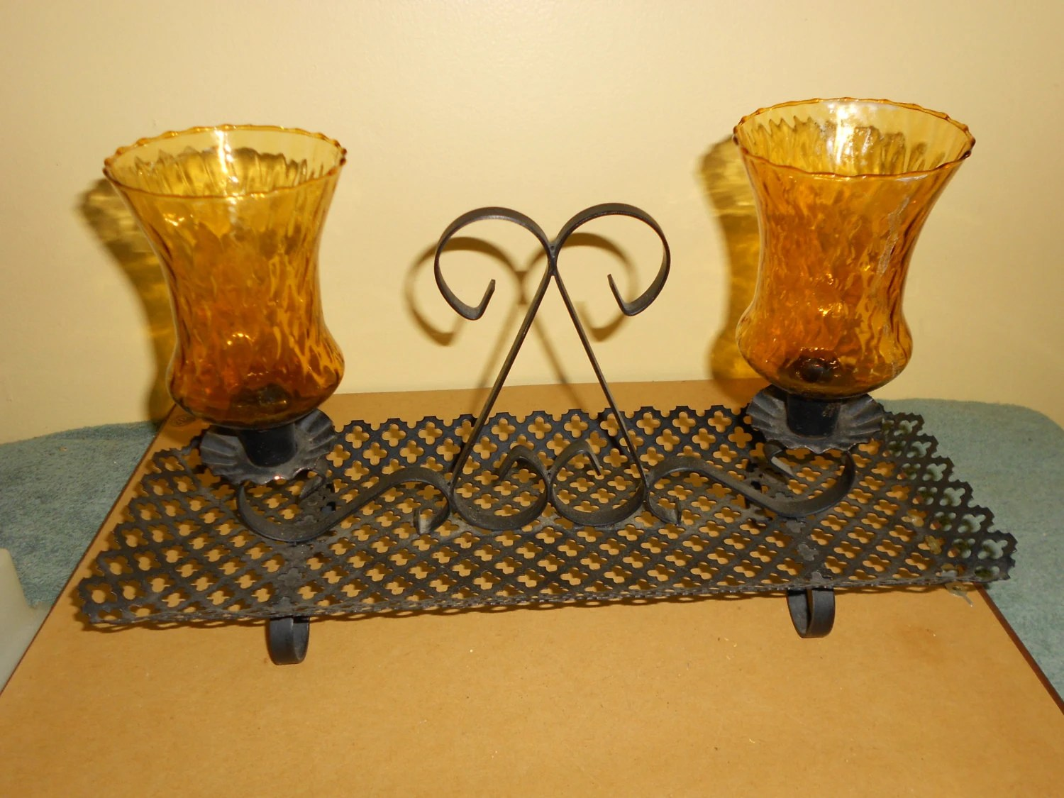 Black Metal Candle Holder wrought Iron with by pamscrafts7631 on Black Wrought Iron Wall Candle Holders id=69844